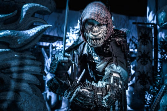 "Here's an elaborate costume at Knott's Scary Farm's ""Shadow Lands"" maze about demon Samurai."