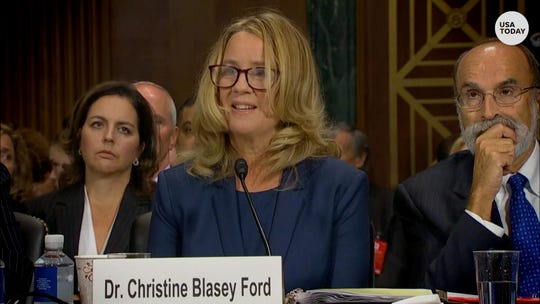 Christine Ford takes questions during the Senate Judiciary Committee hearing on Brett Kavanaugh.
