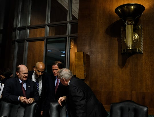 Democratic Senators Chris Coons, left. Cory Booker, Richard Blumenthal, and Richard Durbin. The Senate Judiciary Committee holds a hearing for Dr. Christine Blasey Ford to testify about sexual assault allegations against Supreme Court nominee Judge Brett M. Kavanaugh at the Dirksen Senate Office Building on Capitol Hill.