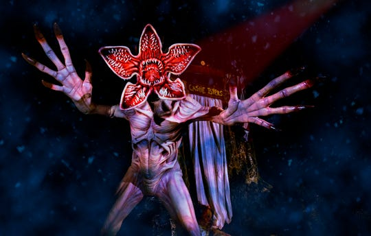 "Beware of the Demogorgon at the ""Stranger Things"" maze at Universal Studios Hollywood's ""Halloween Horror Nights."""