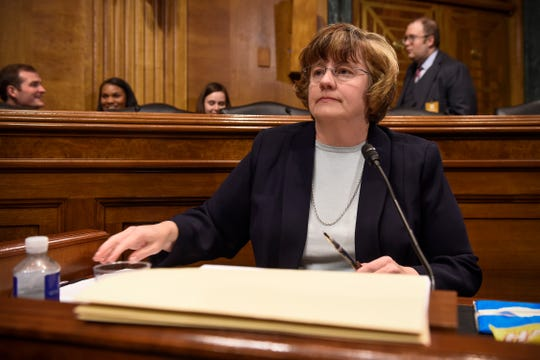 Rachel Mitchell, a prosecutor from Arizona, is seen prior to Christine Blasey Ford, the woman accusing Supreme Court nominee Brett Kavanaugh of sexually assaulting her at a party 36 years ago, testifies during his US Senate Judiciary Committee confirmation hearing on Capitol Hill in Washington, Sept. 27, 2018.
