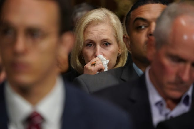 WASHINGTON, DC - SEPTEMBER 27:  U.S. Sen. Kirsten Gillibrand (D-NY) reacts during testimony from Christine Blasey Ford at a Judiciary Committee hearing at the Dirksen Senate Office Building on Capitol Hill September 27, 2018 in Washington, DC. Blasey Ford, a professor at Palo Alto University and a research psychologist at the Stanford University School of Medicine, has accused Supreme Court nominee Brett Kavanaugh of sexually assaulting her during a party in 1982 when they were high school students in suburban Maryland.  (Photo by Andrew Harnik-Pool/Getty Images) ORG XMIT: 775234142 ORIG FILE ID: 1041876558