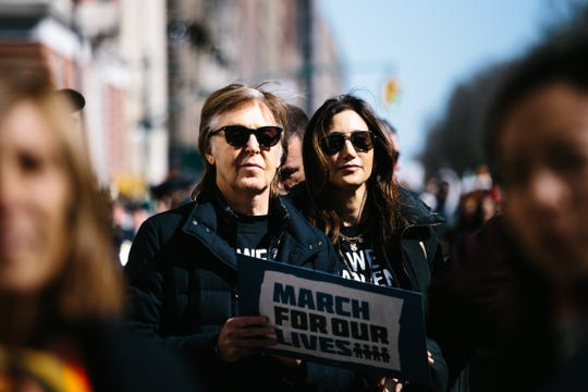 Paul McCartney and his wife Nancy Shevell during the March for Our Lives' in New York, March 24, 2018. The march was organized in response to the February shooting at Marjory Stoneman Douglas High School in Parkland, Florida.