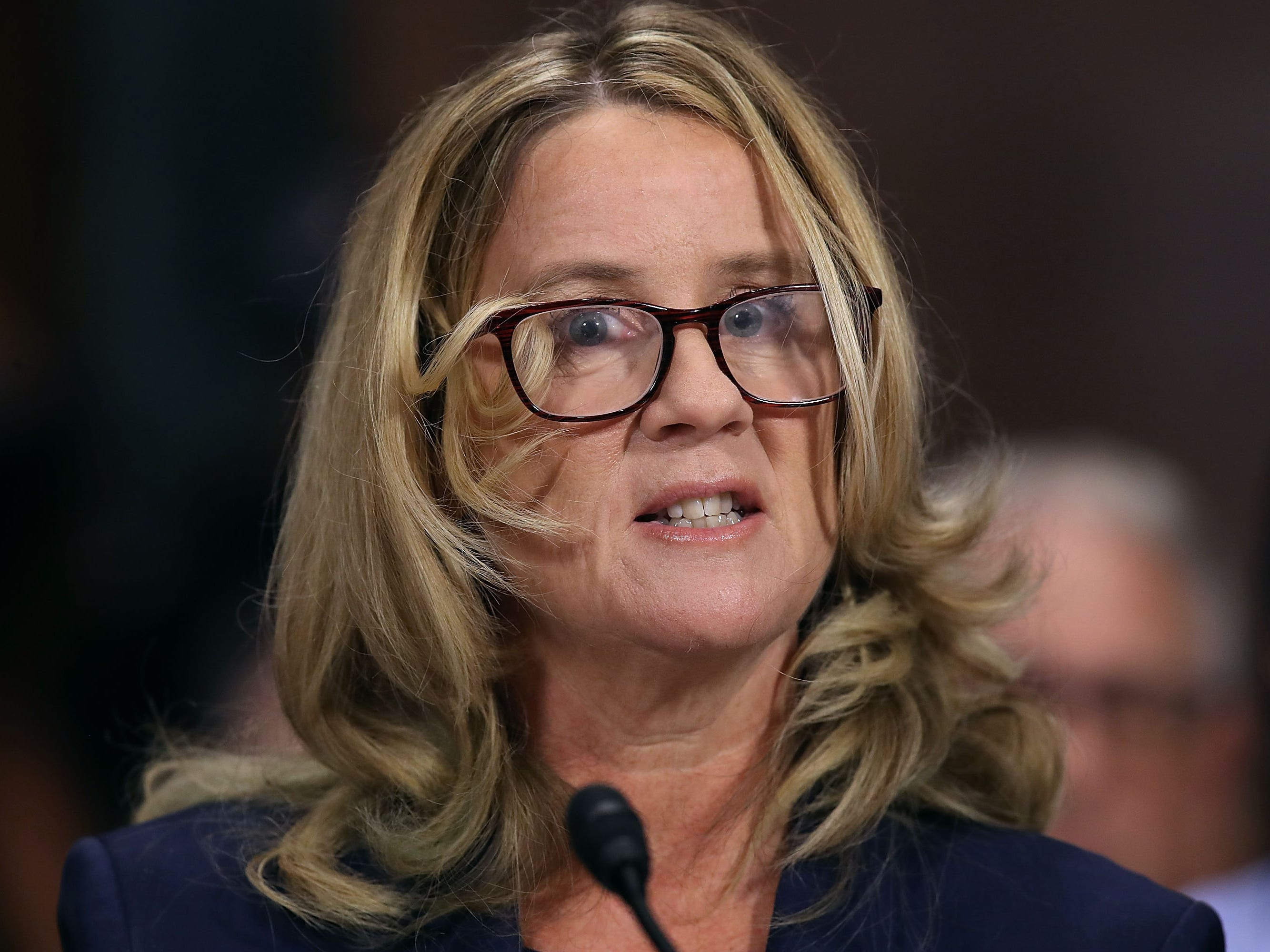 Christine Blasey Ford testifies before the Senate Judiciary Committee in the Dirksen Senate Office Building on Capitol Hill September 27, 2018 in Washington, DC. (Photo by Win McNamee / POOL / Getty Images)WIN MCNAMEE/AFP/Getty Images ORG XMIT: 775234142 ORIG FILE ID: AFP_19I54B