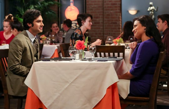 Rajesh (Kunal Nayyar), left, now considering an arranged marriage goes on a dinner date with Anu (Rati Gupta) on CBS's 'The Big Bang Theory' in the Oct. 4 episode.