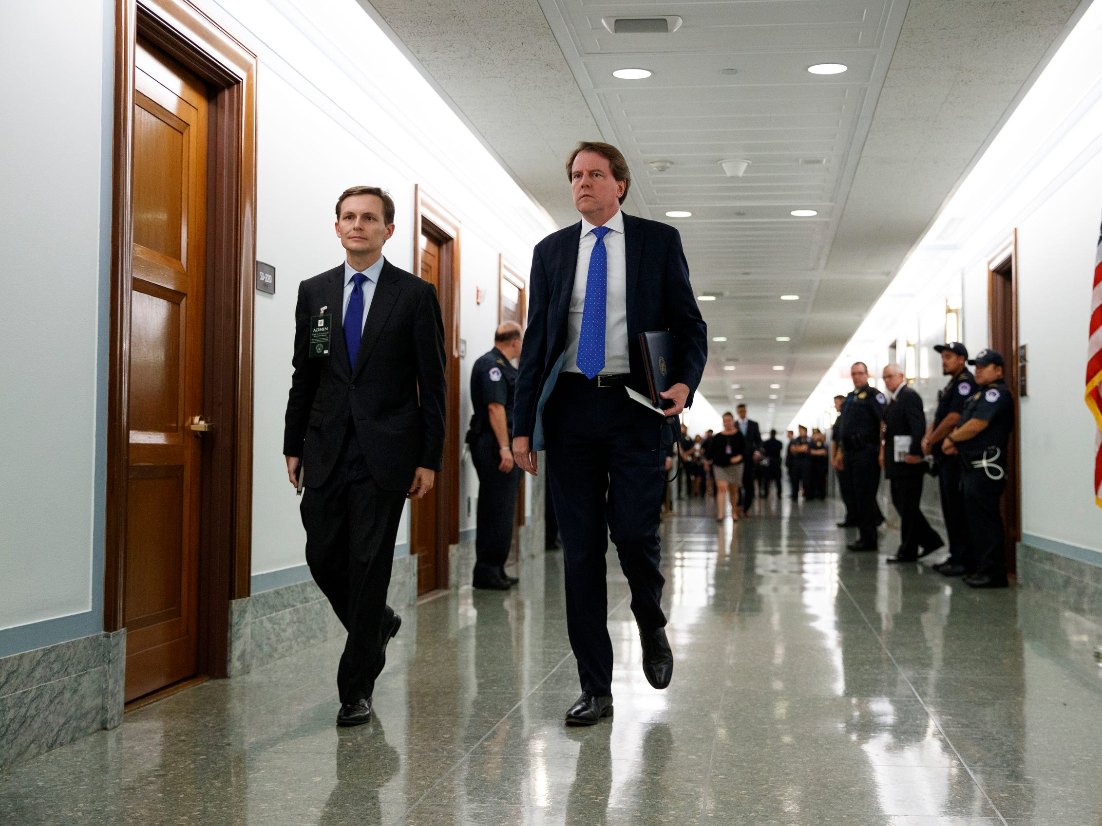 White House counsel Don McGahn, right, arrives for a Senate Judiciary Committee hearing on Capitol Hill in Washington, Thursday.
