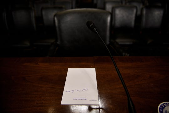 A note to Christine Blasey Ford is seen on stationary in the Senate Judiciary Committee's room on Capitol Hill Sept. 26, in Washington, DC, during preparations one day before the hearing with Blasey Ford and Supreme Court nominee Judge Brett Kavanaugh.