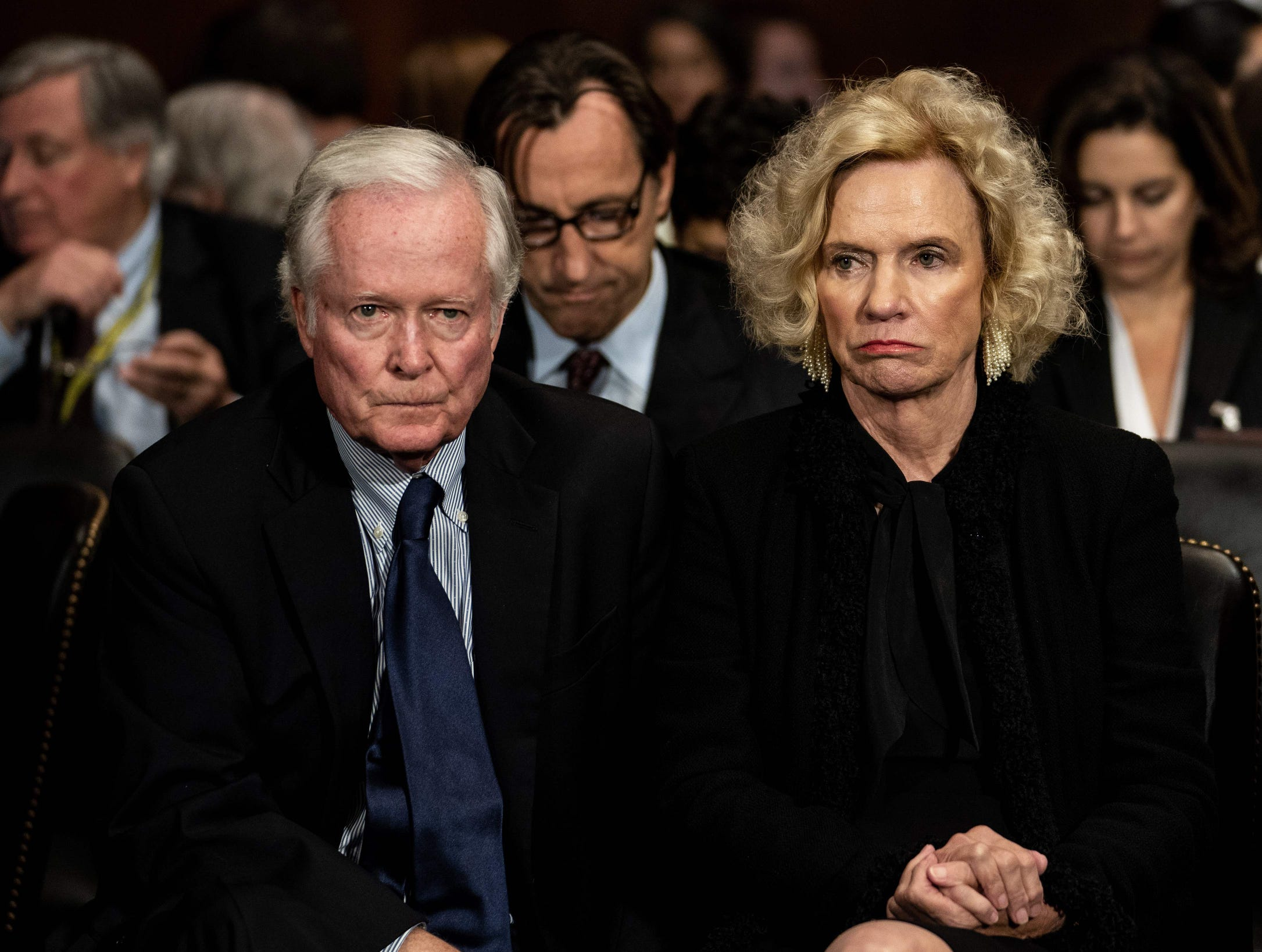 Judge Brett Kavanaugh's parents, Edward  and Martha Kavanaugh,  listen as their son testifies before the Senate Judiciary committee regarding sexual assault allegations.