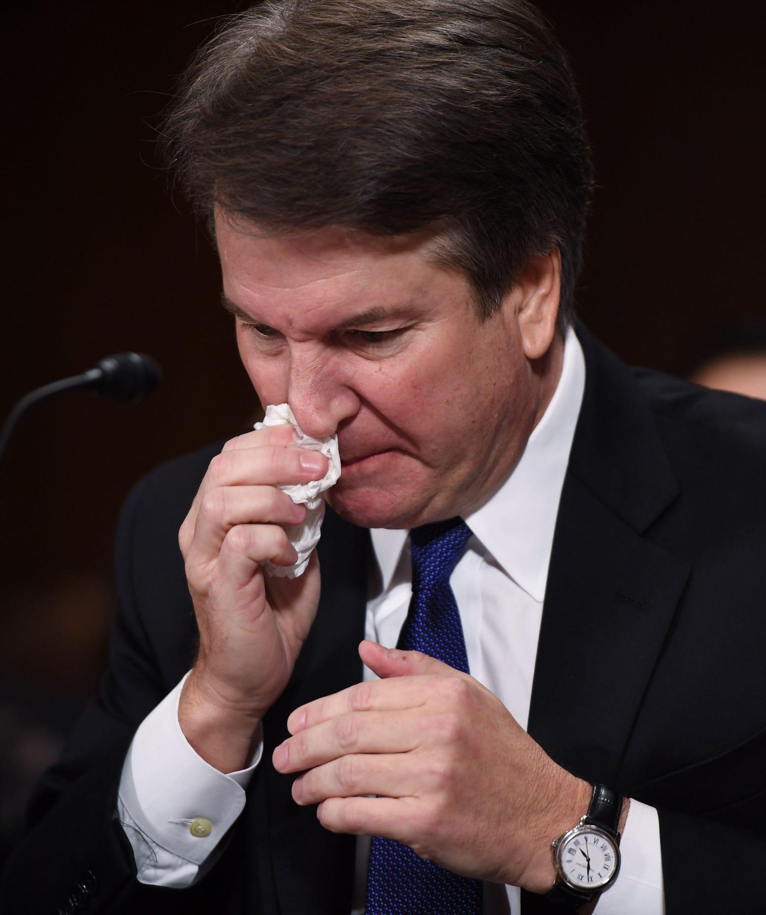 Supreme Court nominee Judge Brett Kavanaugh is visibly upset as he testifies before the US Senate Judiciary Committee.