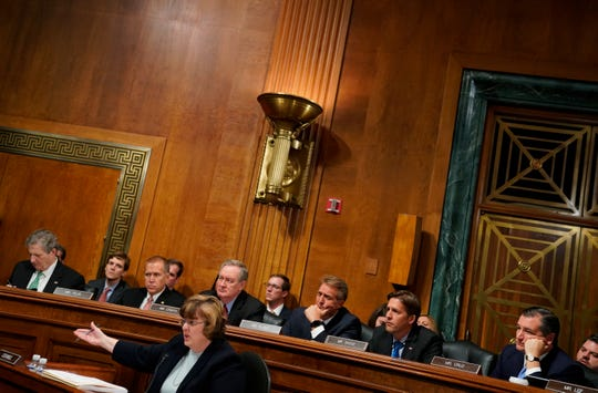 Phoenix prosecutor Rachel Mitchell asks questions of Christine Blasey Ford as she testifies before the Senate Judiciary Committee on Capitol Hill in Washington, Thursday, Sept. 27, 2018.