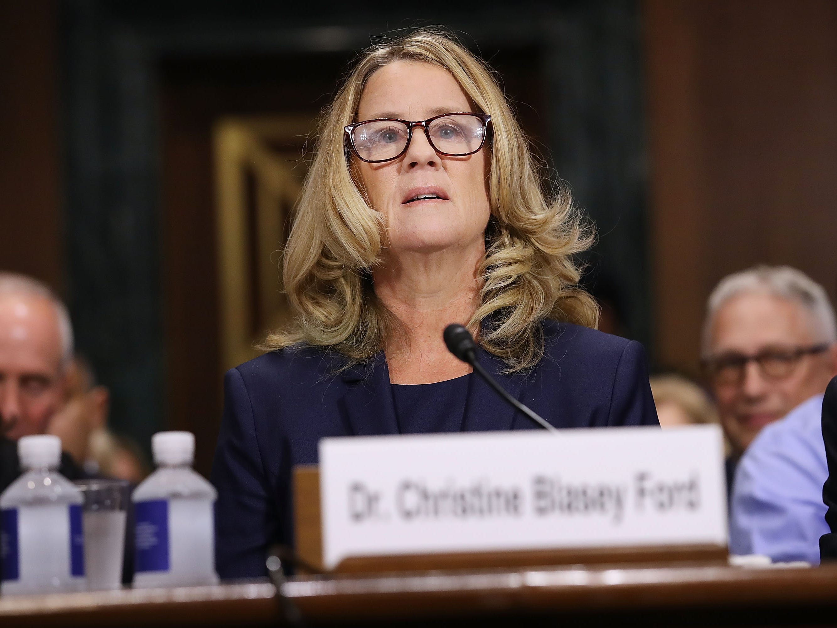 Christine Blasey Ford prepares to testify before the Senate Judiciary Committee in the Dirksen Senate Office Building on Capitol Hill on Sept. 27, 2018, in Washington, D.C.