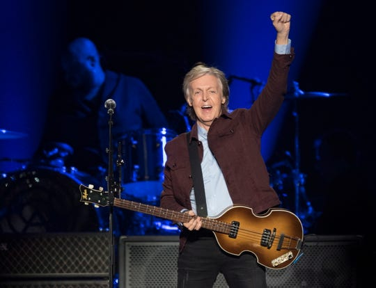 Paul McCartney performs at the Freshen Up world premiere show,  Sept. 17, 2018 in Quebec City.