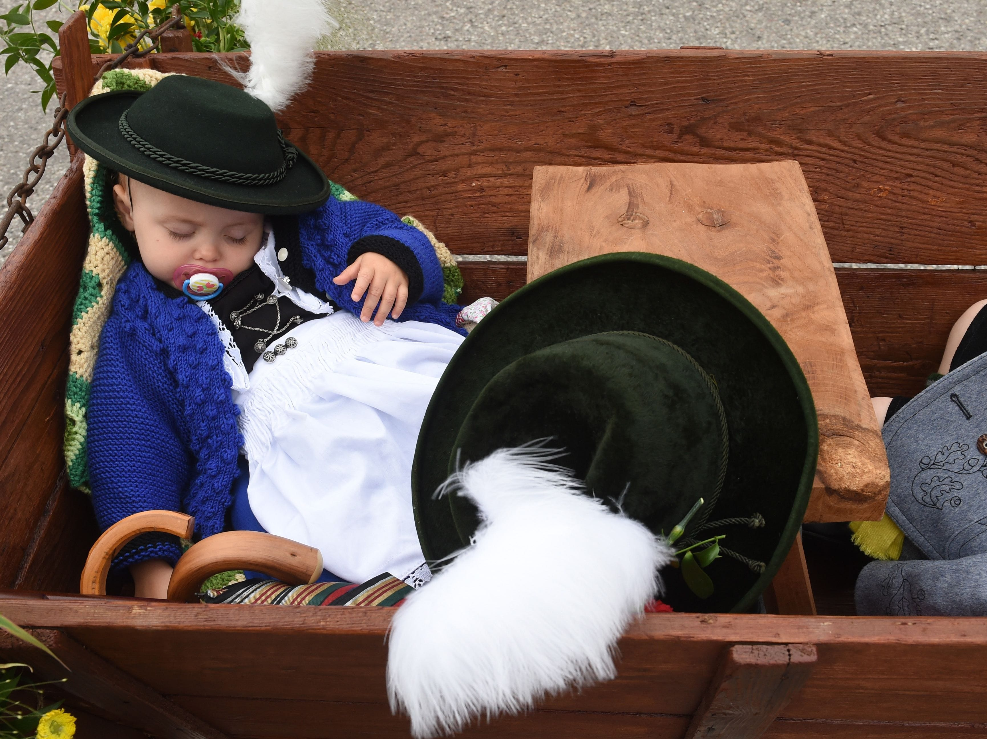 A child sleeps in a cart during the traditional costume and riflemen parade on the second day of the 185th Oktoberfest beer festival on Sept. 23, 2018 in Munich, southern Germany.