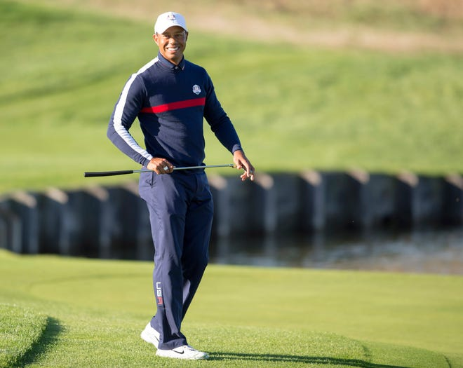 Tiger Woods on the second green during a Ryder Cup practice round at Le Golf National.