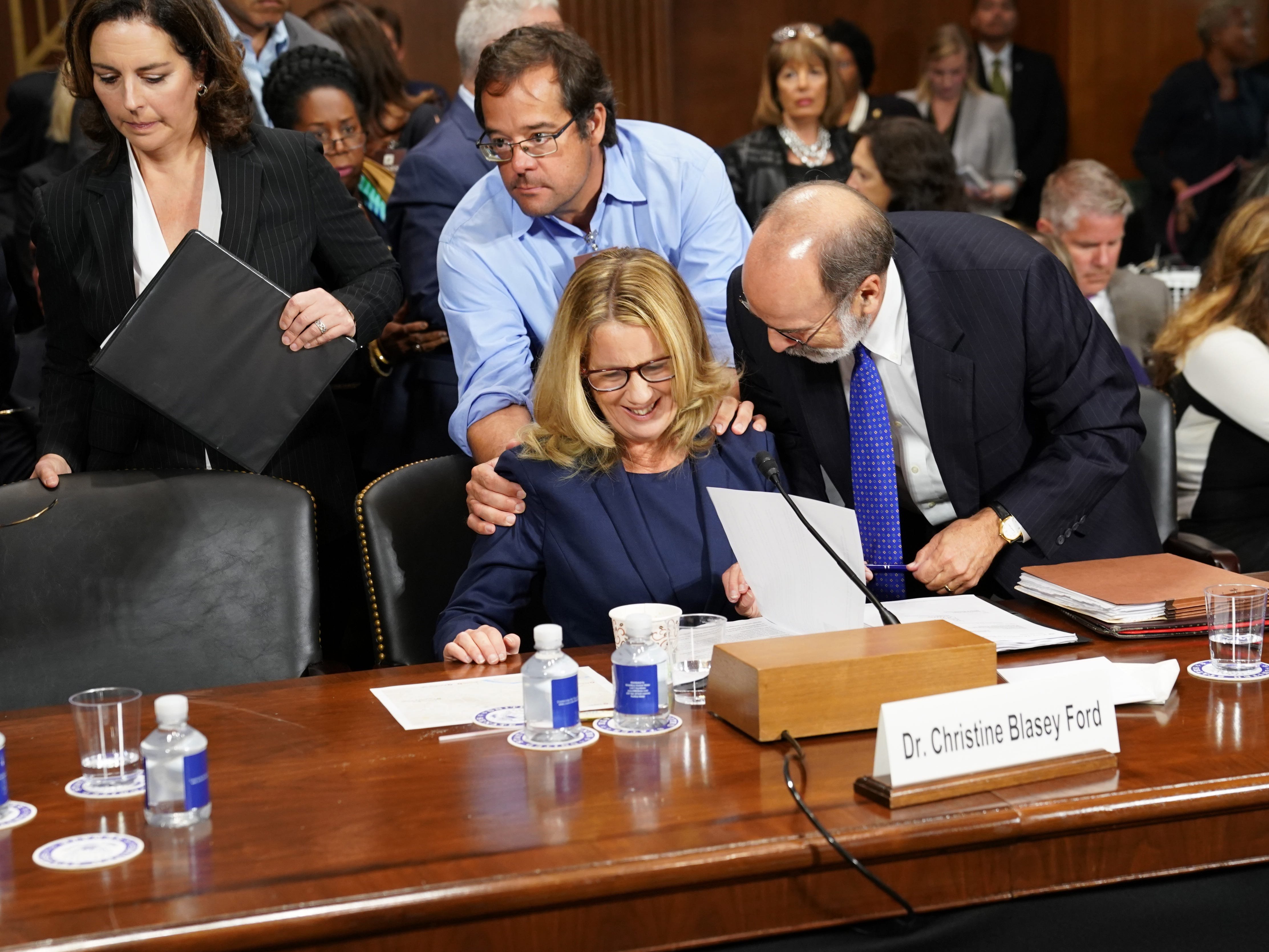 WASHINGTON, DC - SEPTEMBER 27:   Christine Blasey Ford takes a break from testifying at a U.S. Senate Judiciary Committee hearing at the Dirksen Senate Office Building on Capitol Hill September 27, 2018 in Washington, DC. Blasey Ford, a professor at Palo Alto University and a research psychologist at the Stanford University School of Medicine, has accused Supreme Court nominee Brett Kavanaugh of sexually assaulting her during a party in 1982 when they were high school students in suburban Maryland.  (Photo by Andrew Harnik-Pool/Getty Images) ORG XMIT: 775234142 ORIG FILE ID: 1041746300