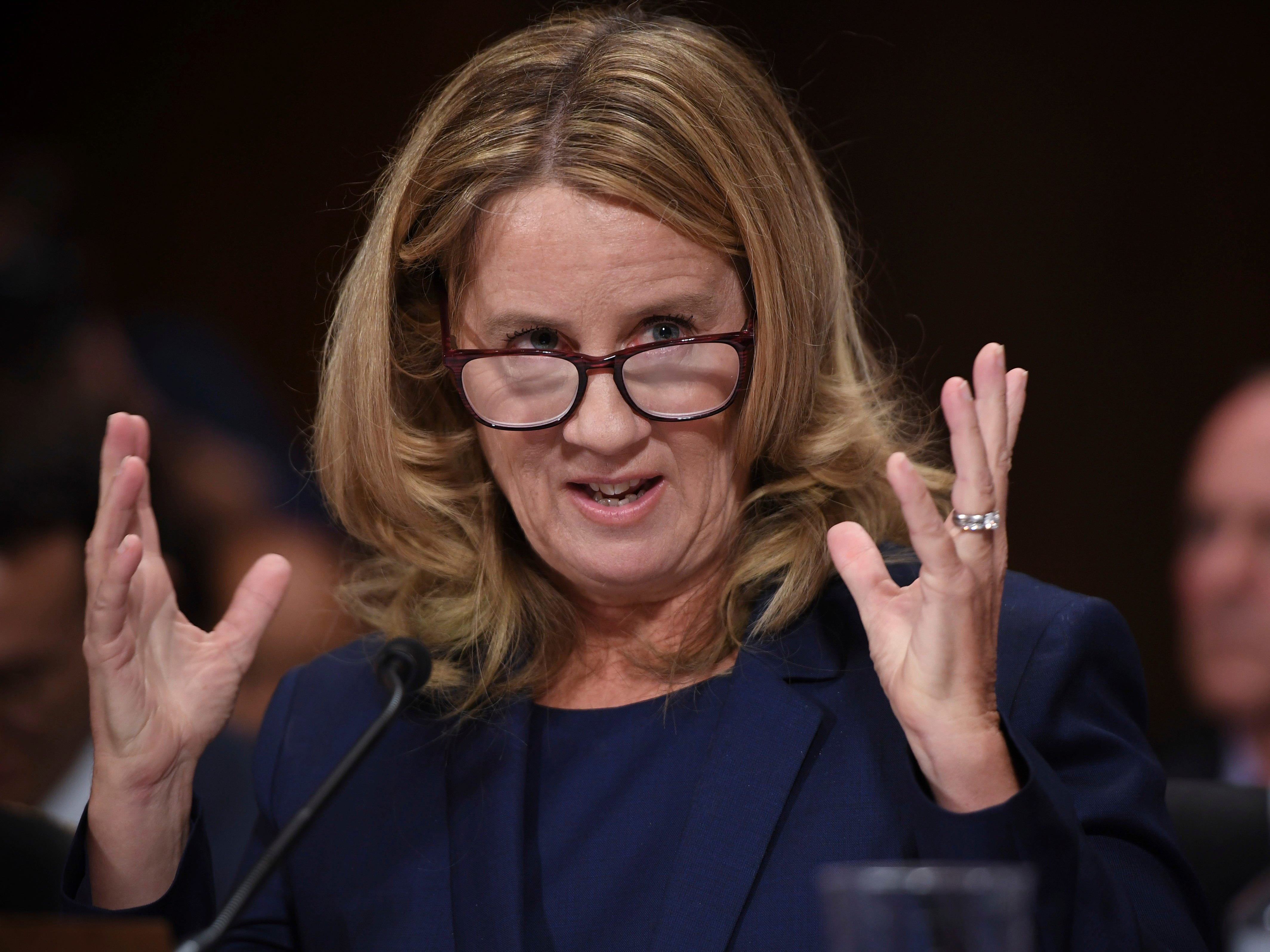 Christine Blasey Ford testifies to the Senate Judiciary Committee on Capitol Hill in Washington, Thursday, Sept. 27, 2018. (Saul Loeb/Pool Photo via AP) ORG XMIT: DCJE506