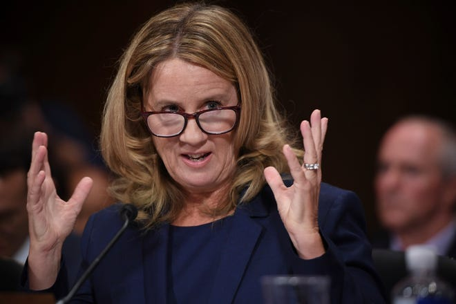 Christine Blasey Ford testifies to the Senate Judiciary Committee on Capitol Hill in Washington, Thursday, Sept. 27, 2018. (Saul Loeb/Pool Photo via AP) ORG XMIT: DCJE506