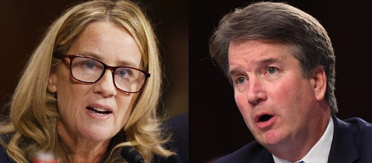 Christine Blasey Ford, left, and Brett Kavanaugh, right, in Washington, D.C., in September 2018.