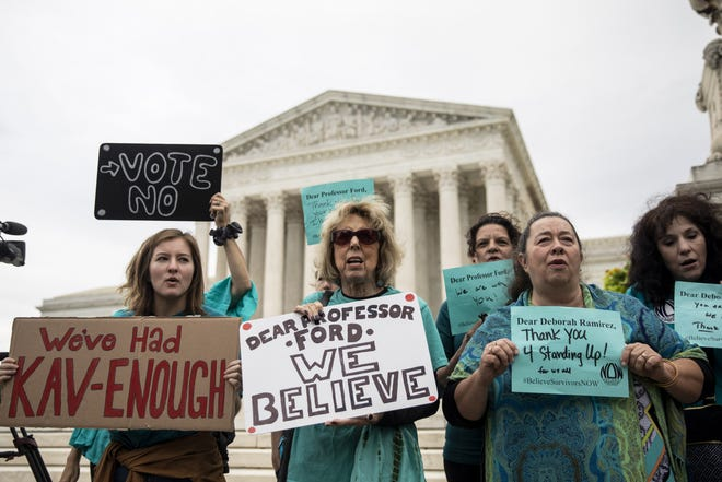 WASHINGTON, DC - SEPTEMBER 27: Protestors rally against Supreme Court nominee Judge Brett Kavanaugh outside the Supreme Court, September 27, 2018 in Washington, DC. On Thursday, Christine Blasey Ford, who has accused Kavanaugh of sexual assault, is testifying before the Senate Judiciary Committee. (Photo by Drew Angerer/Getty Images) ORG XMIT: 775234280 ORIG FILE ID: 1041611928