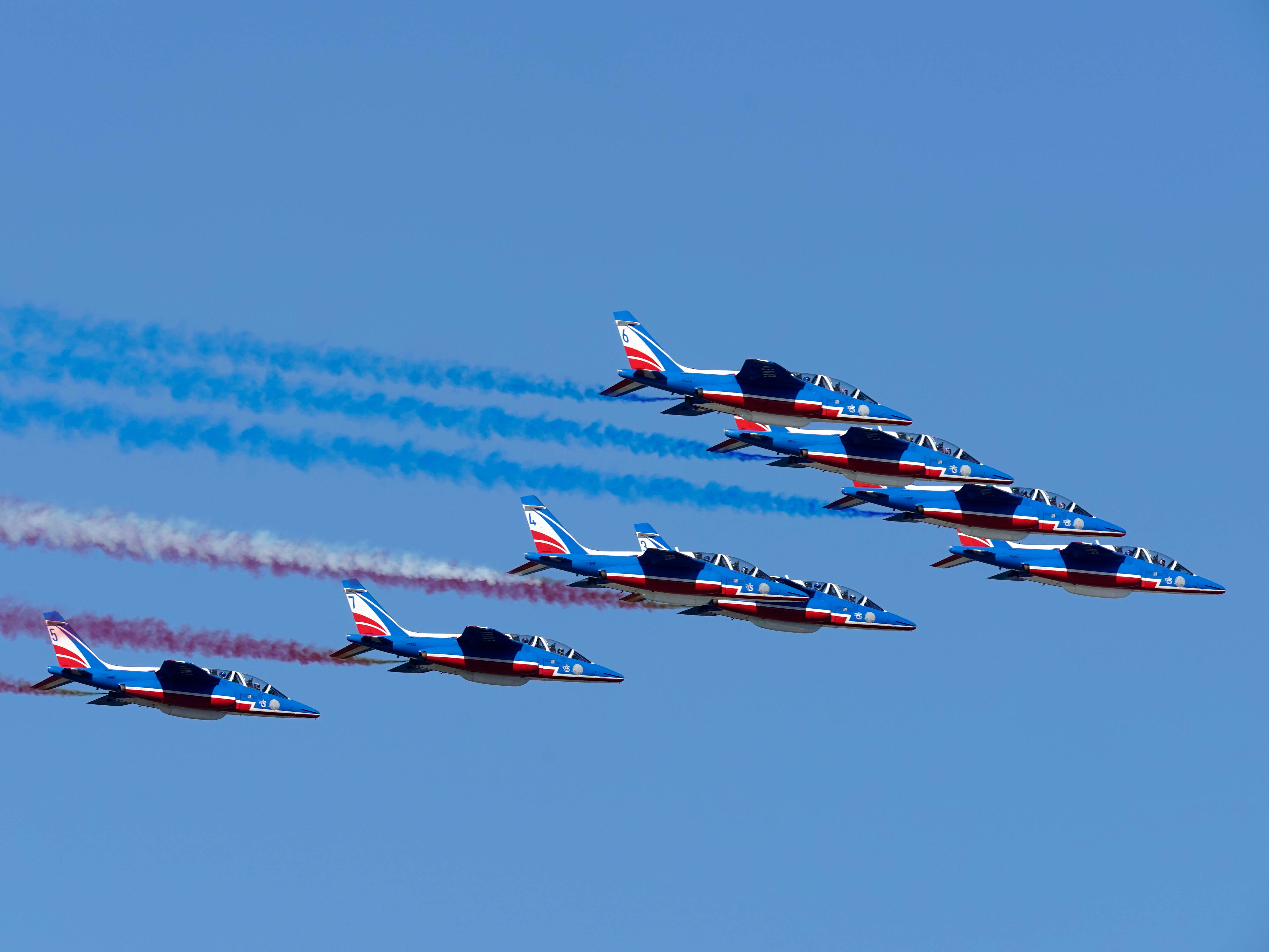 The French Air Force does a fly over during a Ryder Cup practice round.