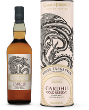 HBO is teaming with liquor giant Diageo, which owns Johnnie Walker whisky, on a special Johnnie Walker scotch and a collection of eight single malt scotches named after the families in the hit series. Among the single malts, due to be released this fall, is this House Targaryen Cardhu Gold Reserve, suggested price of $39.99.