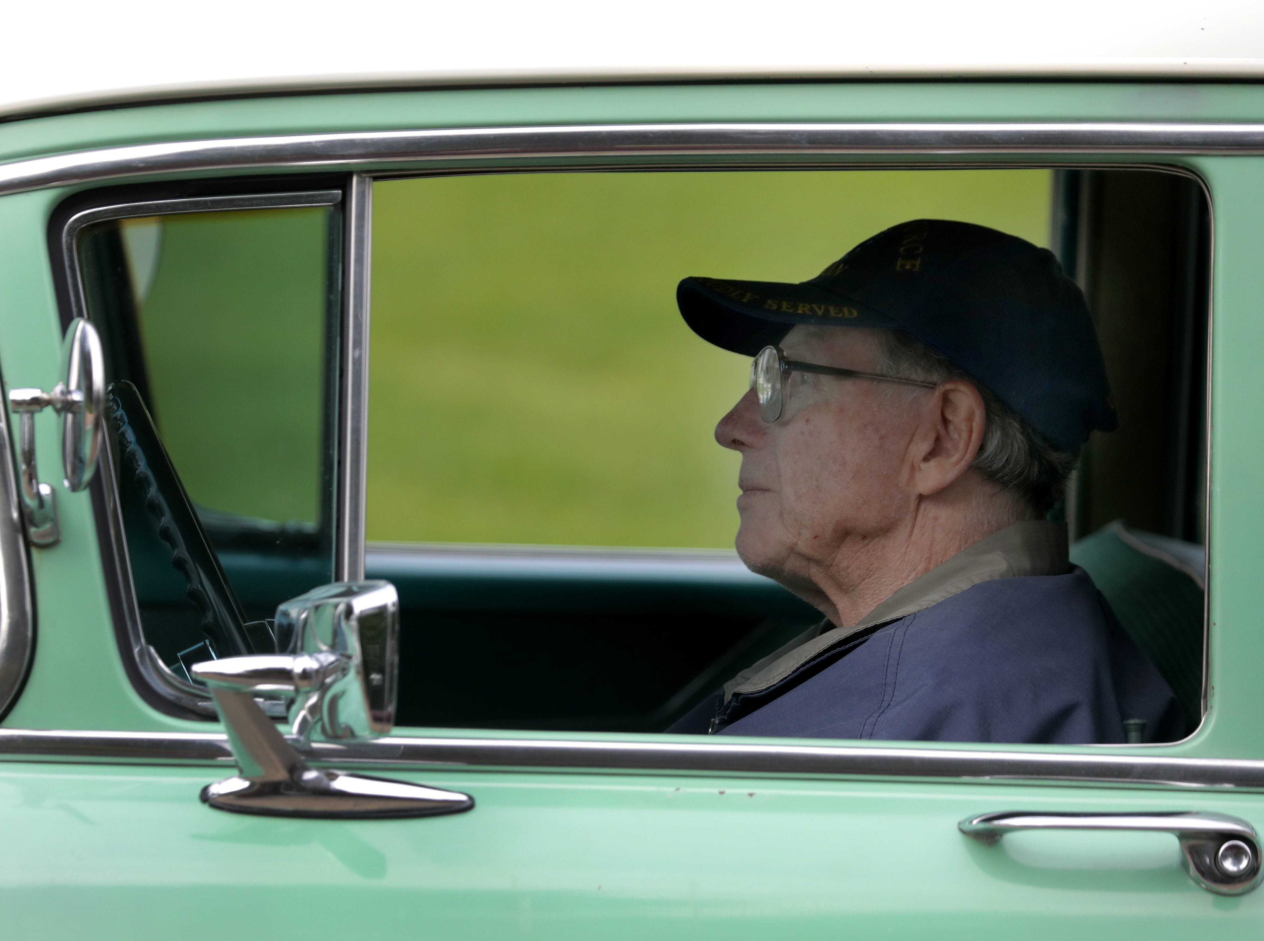 Vern Rieckmann waits to stage his 1954 Buick Century during the annual License to Cruise car show on Friday, September 28, 2018, on College Ave. in Appleton, Wis.