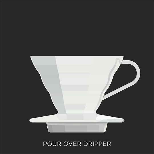 An example of the dripper used in the pour-over method for making coffee.