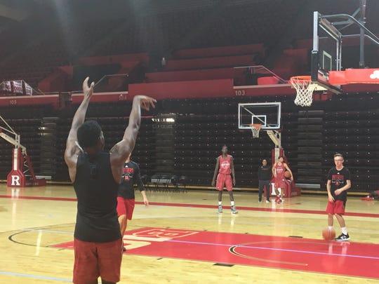 Rutgers freshman Montez Mathis gets shots up before pratice