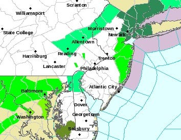 The Jersey Shore and some points inland were under a flood warning Sept. 28.