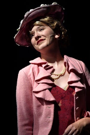 "Emily Hatch portrays the heiress Hope Harcourt during rehearsal for the Hardin-Simmons University production of ""Anything Goes."" Harcourt is engaged to be married but is sought by a stowaway named Billy Crocker in the musical that opens Wednesday at Van Ellis Theatre on the HSU campus."