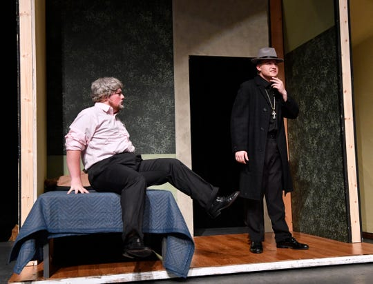 """Dylan Scott (left) and Jess Westman perform as Eli Whitney and """"Moonface"""" Martin during rehearsal for """"Anything Goes."""""""