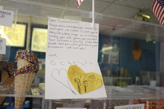 """Please don't retire because we love you and your ice cream,"" a note posted at the Custard Corner in Endicott reads."
