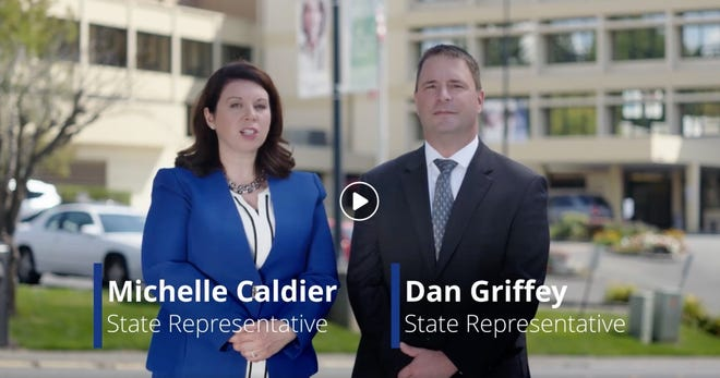 "Republican state Reps. Michelle Caldier and Dan Griffey appeared in an ad on Facebook this week that says they ""fight for sexual assault survivors."""