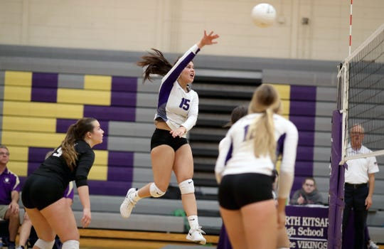 North Kitsap's Noey Barreith attempts a kill in a match against North Mason.