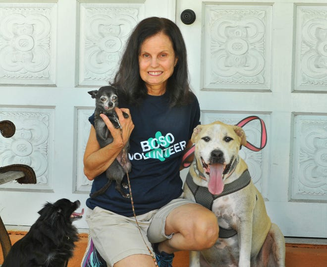 Karen Caruso, whop grew up in Satellite Beach, was diagnosed with stage 4 metastatic breast cancer.  The ultra-marathoner volunteers at the BCSO animal shelter. She is pictured with her three rescue dogs Benito, Jett and Amazing Grace.