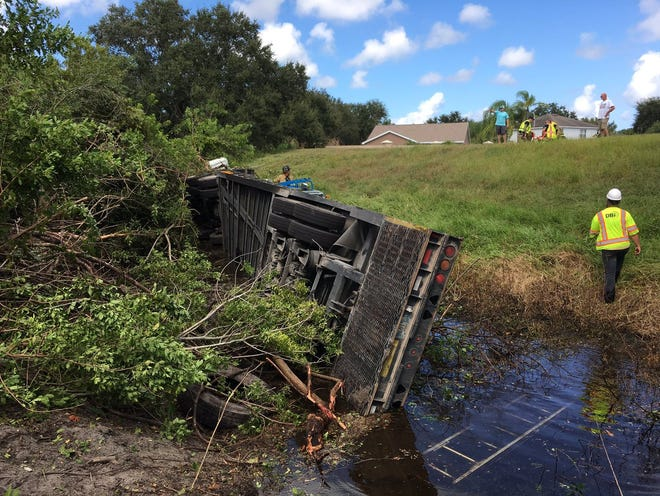 A tractor trailer drifted off Interstate 95 Friday in Viera and crashed. No one was seriously hurt.