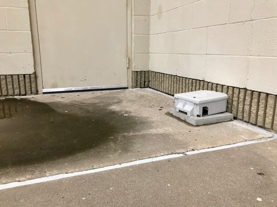 Rodent traps are set up around AMC Corpus Christi 16 on Friday, Sept. 28, 2018. Last week a video of rodents inside the theater circulated on social media.