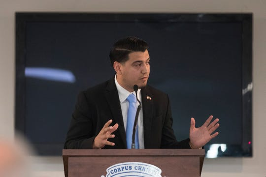 Julian Firo speaks during the Corpus Christi Police Officers Association Candidate Forum on Wednesday, Sep. 26, 2018.