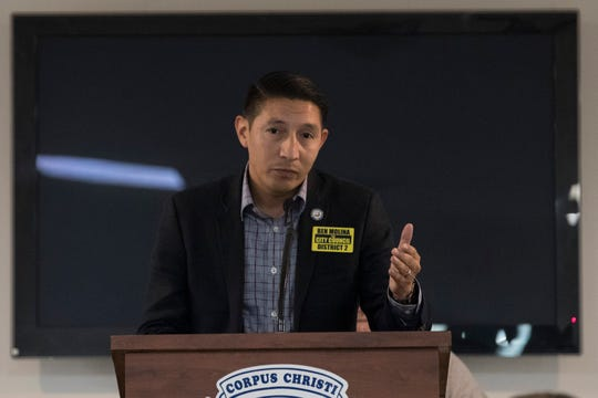 Ben Molina speaks during the Corpus Christi Police Officers Association Candidate Forum on Wednesday, Sep. 26, 2018.