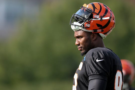 Cincinnati Bengals defensive end Carlos Dunlap (96) eyes the field during Cincinnati Bengals training camp practice, Friday, Aug. 3, 2018, on the practice fields next to Paul Brown Stadium in Cincinnati.