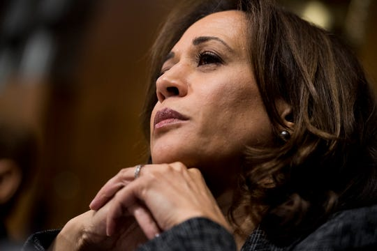 WASHINGTON, DC - SEPTEMBER 27: Sen. Kamala Harris, D-Calif., listens to Christine Blasey Ford testify during the Senate Judiciary Committee hearing on the nomination of Brett M. Kavanaugh to be an associate justice of the Supreme Court of the United States, on Capitol Hill September 27, 2018 in Washington, DC. A professor at Palo Alto University and a research psychologist at the Stanford University School of Medicine, Ford has accused Supreme Court nominee Judge Brett Kavanaugh of sexually assaulting her during a party in 1982 when they were high school students in suburban Maryland. (Photo By Tom Williams-Pool/Getty Images)