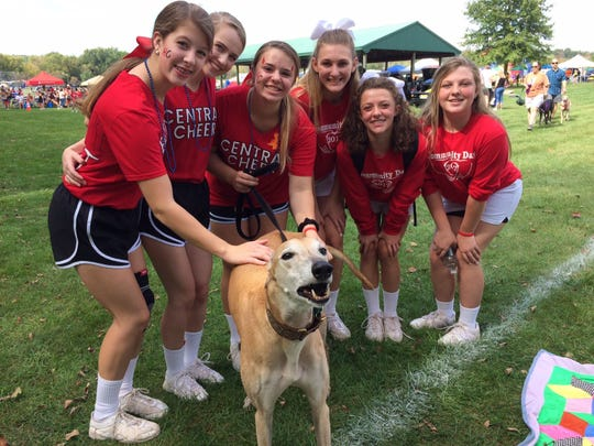 New Jersey Greyhound Adoption Program (NJGAP) will host a Meet & Greet booth at Raritan Township Community Day, from noon to 5 p.m. on Saturday, Sept 29, at Lenape Park, Route 523, Flemington. Pictured at last year's event are Hunterdon Central cheerleaders with a greyhound.