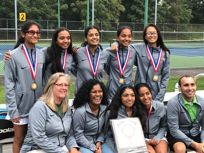 The J.P. Stevens girls tennis team won its third-straight GMC Tournament title on Thursday, Sept. 27, 2018.