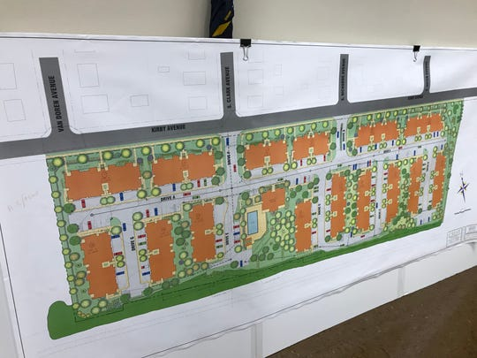 An engineering plan of the Kirby Village apartment complex, which was just approved by the Somerville Planning Board.