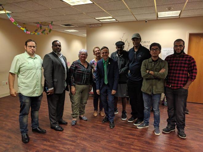 (Right to left)Jad Kaado, Pastor Pedro Showell, Nancy Scalzone, Lindy Stork, Charlie Kratovil, Thomas Peoples, Corpus Guante, Brandon Espana and Ariel Pina.