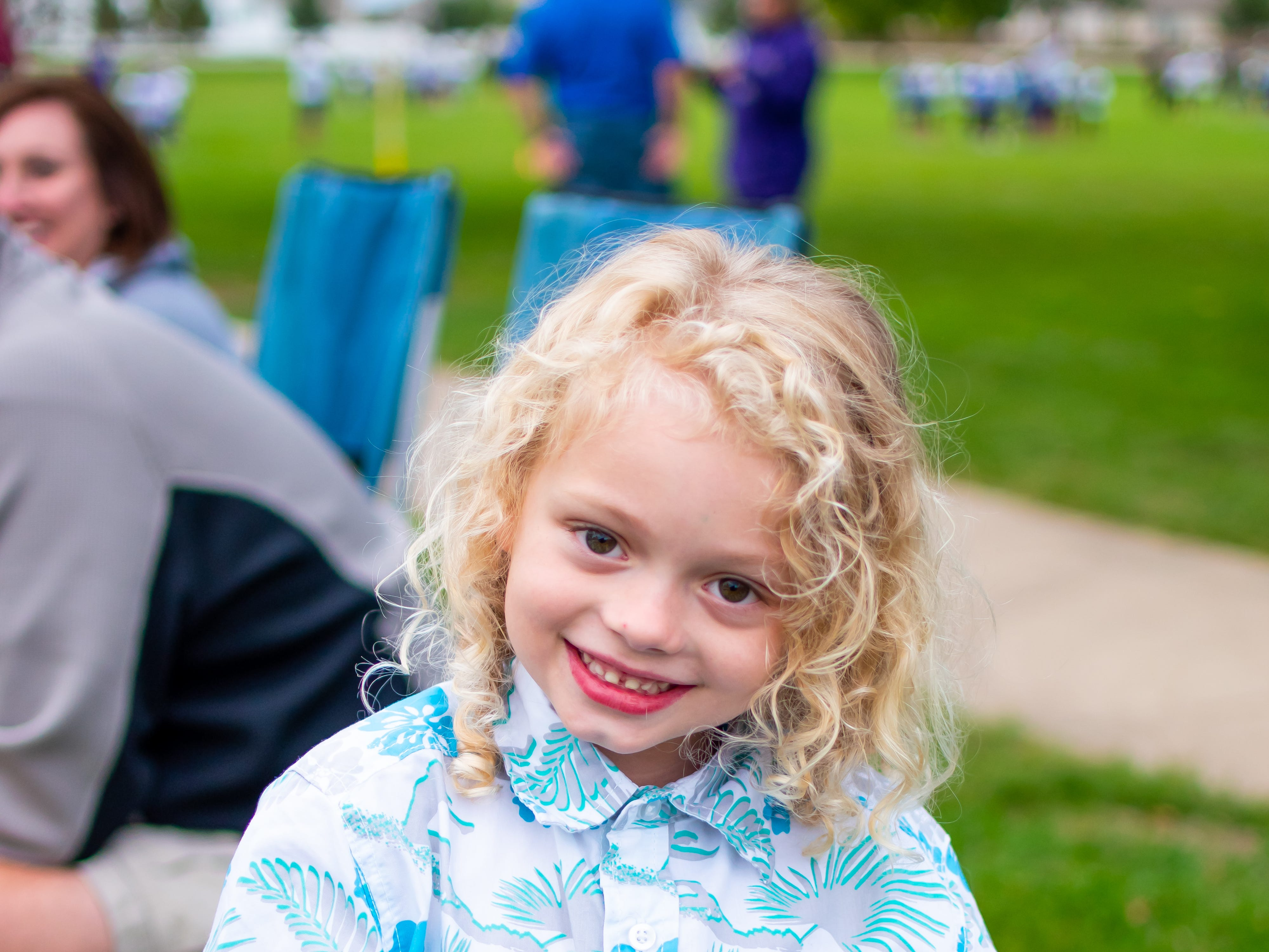 Teagan Guy, 6, of Waukee is all smiles for the Waukee Homecoming Parade on Thursday, September 27, 2018 in Waukee.