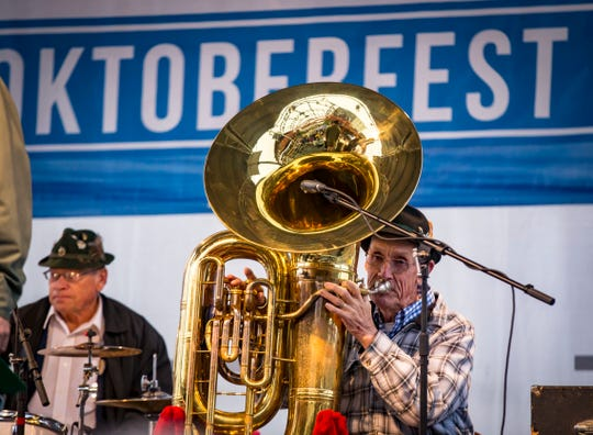 Malek's Fishermen Band plays during the tapping of the Golden Keg to start the Des Moines' Oktoberfest Friday, Sept. 28, 2018.