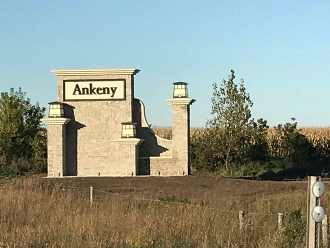 One of Ankeny's two new entrance signs sits along the interstate.