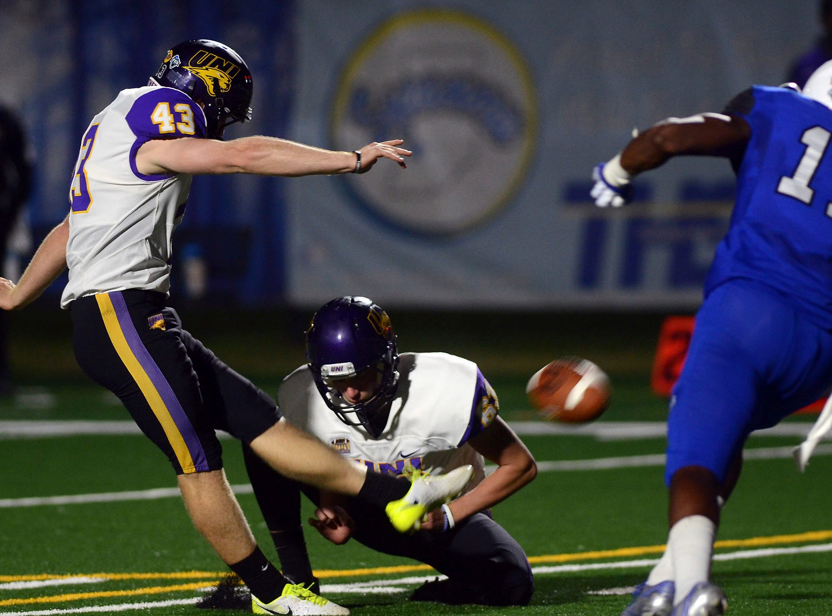 Northern Iowa's Austin Errthum kicks a field goal against Indiana State during an NCAA college football game Thursday, Sept. 27, 2018, in Terre Haute, Ind.