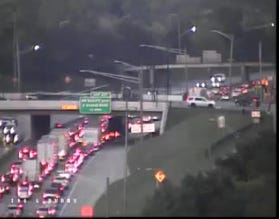 Traffic is jammed up in this traffic cam on I-94 westbound east of Van Dyke.